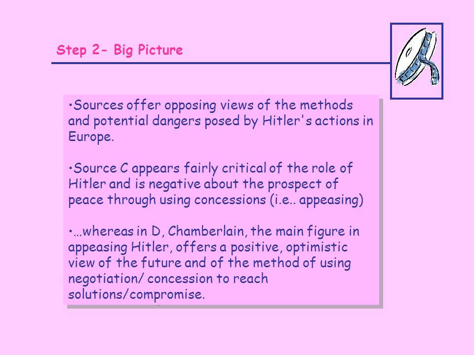 Step 2- Big Picture Sources offer opposing views of the methods and potential dangers posed by Hitler s actions in Europe.