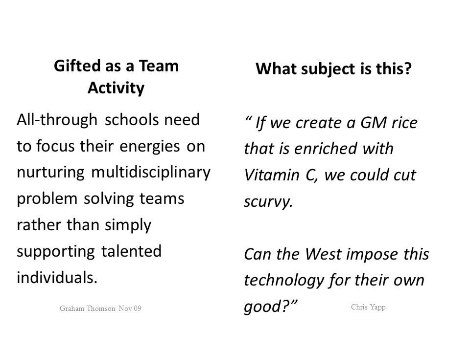 Gifted as a Team Activity All-through schools need to focus their energies on nurturing multidisciplinary problem solving teams rather than simply supporting talented individuals.