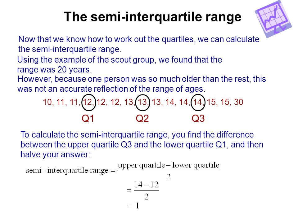 The semi-interquartile range Now that we know how to work out the quartiles, we can calculate the semi-interquartile range. Using the example of the s