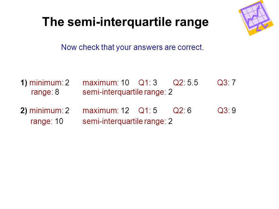 The semi-interquartile range Now check that your answers are correct. 1) minimum: 2 maximum: 10 Q1: 3 Q2: 5.5 Q3: 7 range: 8 semi-interquartile range:
