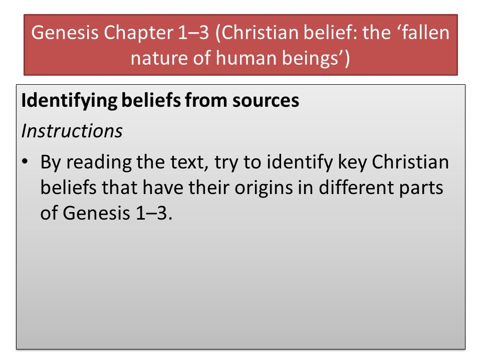 Genesis Chapter 1–3 (Christian belief: the fallen nature of human beings) Identifying beliefs from sources Instructions By reading the text, try to id