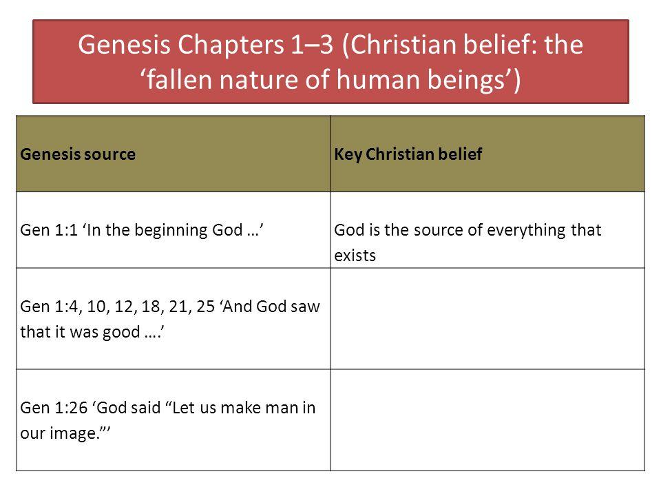 Genesis Chapters 1–3 (Christian belief: the fallen nature of human beings) Genesis source Key Christian belief Gen 1:1 In the beginning God … God is t