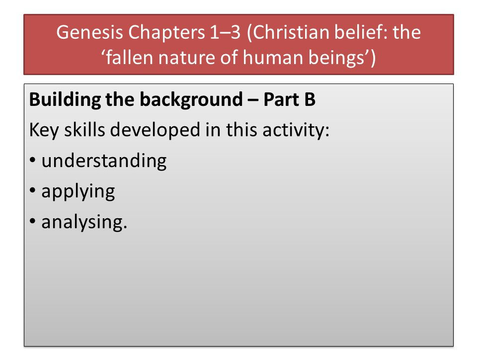 Genesis Chapters 1–3 (Christian belief: the fallen nature of human beings) Building the background – Part B Key skills developed in this activity: und