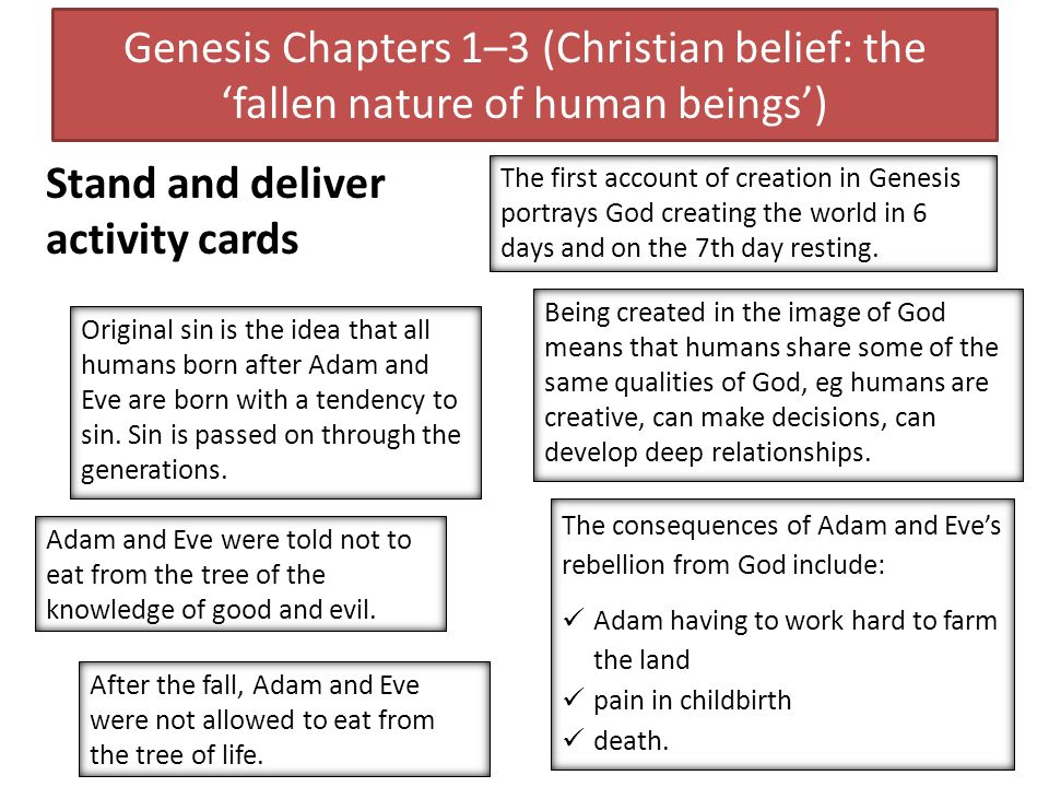 Genesis Chapters 1–3 (Christian belief: the fallen nature of human beings) The first account of creation in Genesis portrays God creating the world in