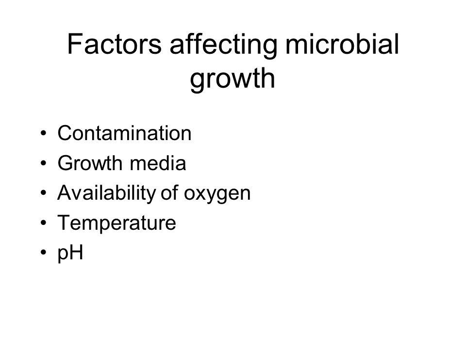 Contamination Growth media Availability of oxygen Temperature pH