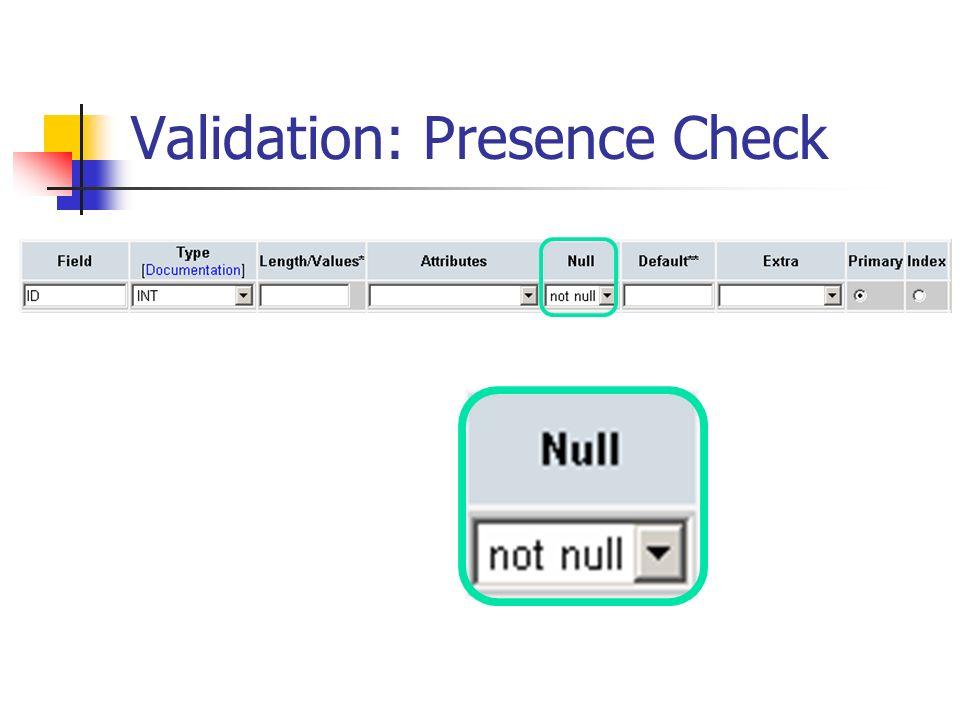 Validation: Presence Check