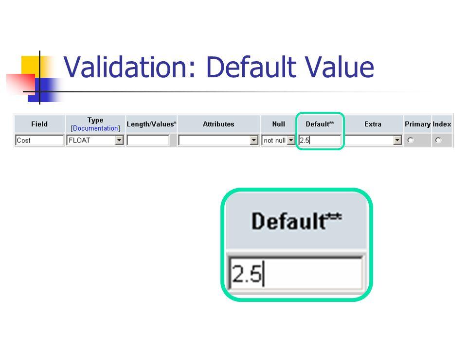 Validation: Default Value