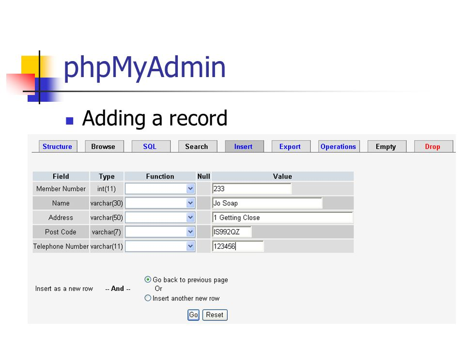 phpMyAdmin Adding a record