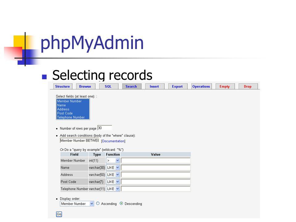 phpMyAdmin Selecting records