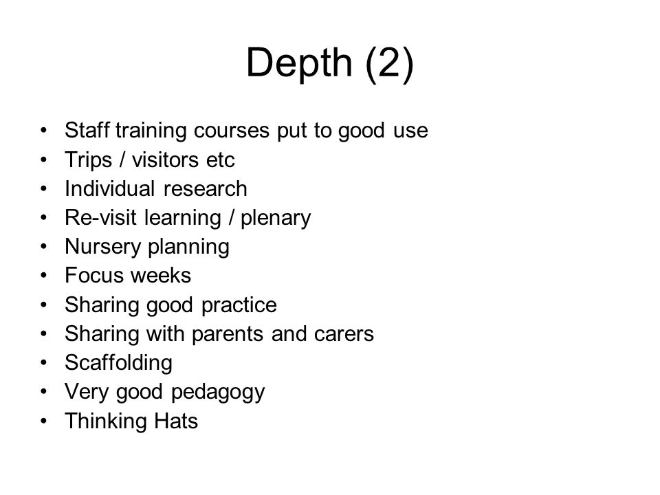 Depth (2) Staff training courses put to good use Trips / visitors etc Individual research Re-visit learning / plenary Nursery planning Focus weeks Sha