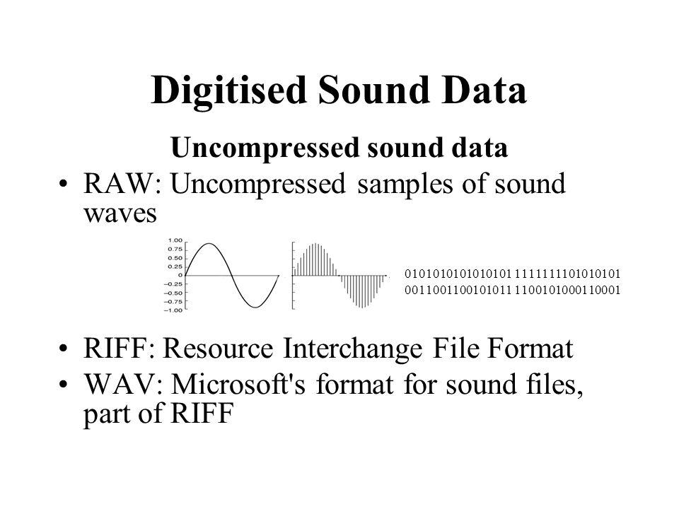 Digitised Sound Data Uncompressed sound data RAW: Uncompressed samples of sound waves 0101010101010101 1111111101010101 0011001100101011 1100101000110