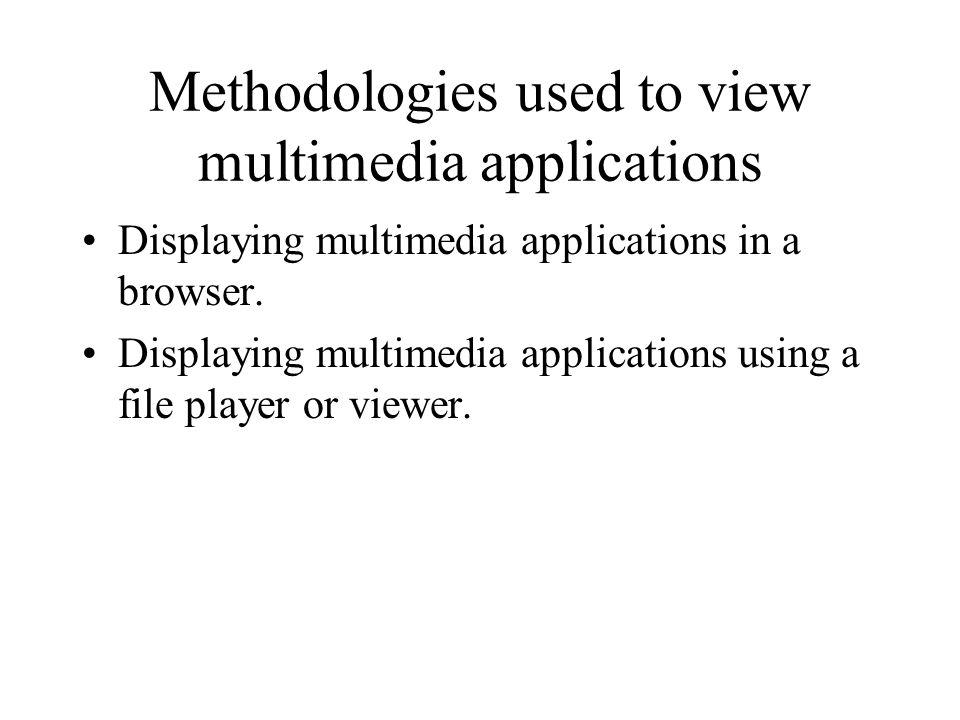 Methodologies used to view multimedia applications Displaying multimedia applications in a browser. Displaying multimedia applications using a file pl