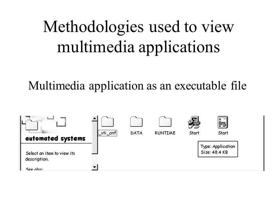 Methodologies used to view multimedia applications Multimedia application as an executable file