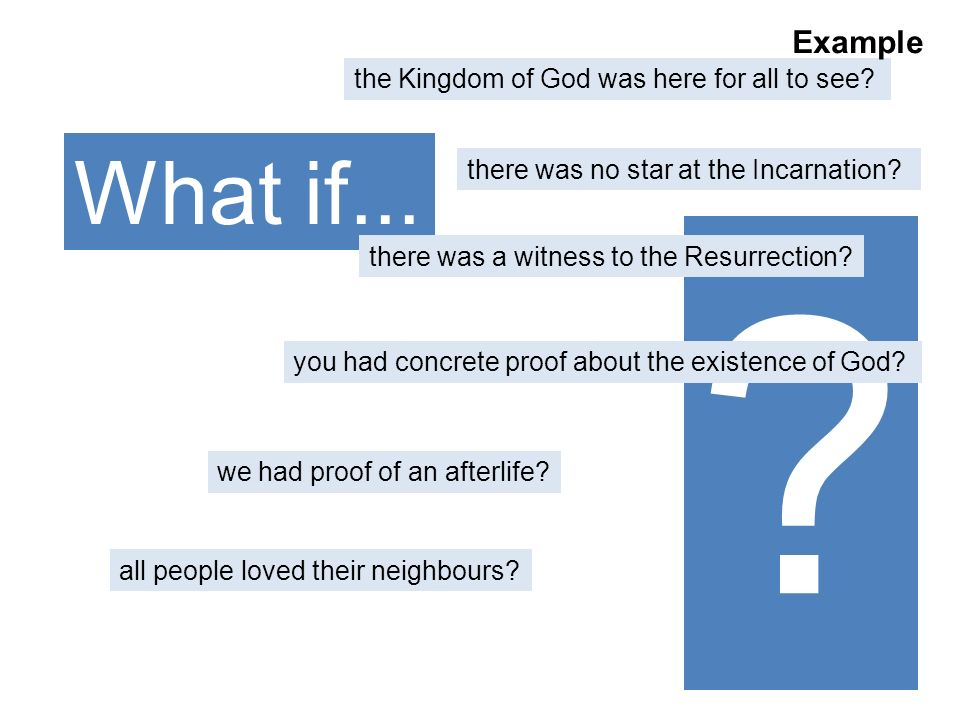 ? What if... the Kingdom of God was here for all to see? there was no star at the Incarnation? there was a witness to the Resurrection? we had proof o