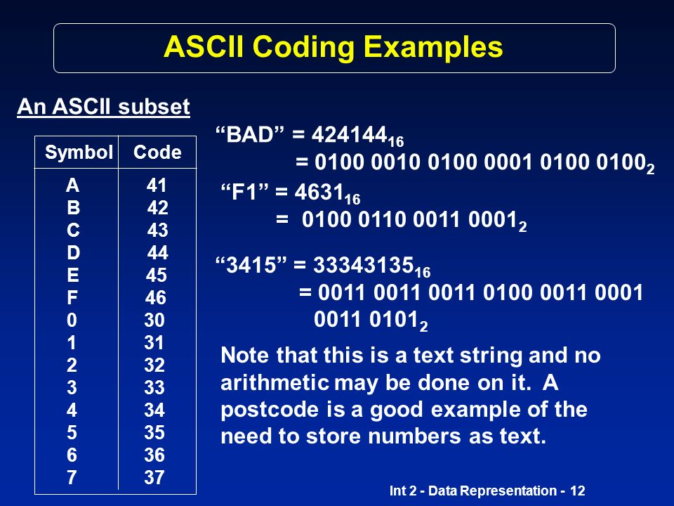 Int 2 - Data Representation - 11 Coding Methods ASCII ASCII A merican S tandard C ode for I nformation I nterexchange strictly speaking a 7-bit code (128 characters) has an extended 8-bit version used on PCs and non-IBM mainframes widely used to transfer data from one computer to another codes 0 to 31 are control codes