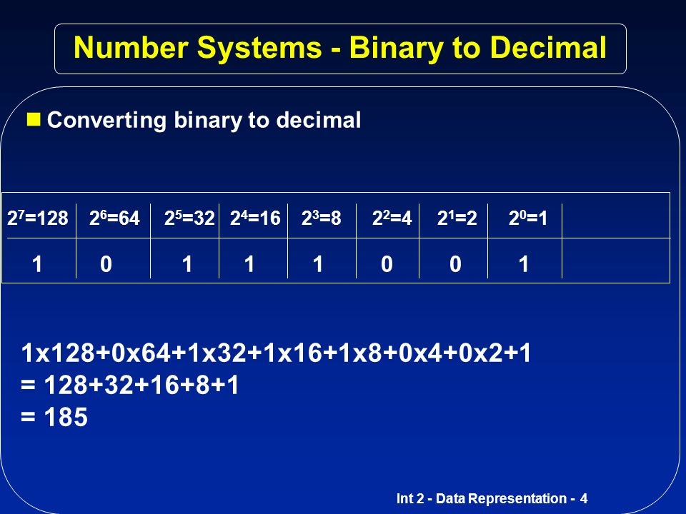 Int 2 - Data Representation - 3 Number Systems - Binary The binary system is a base-2 system.