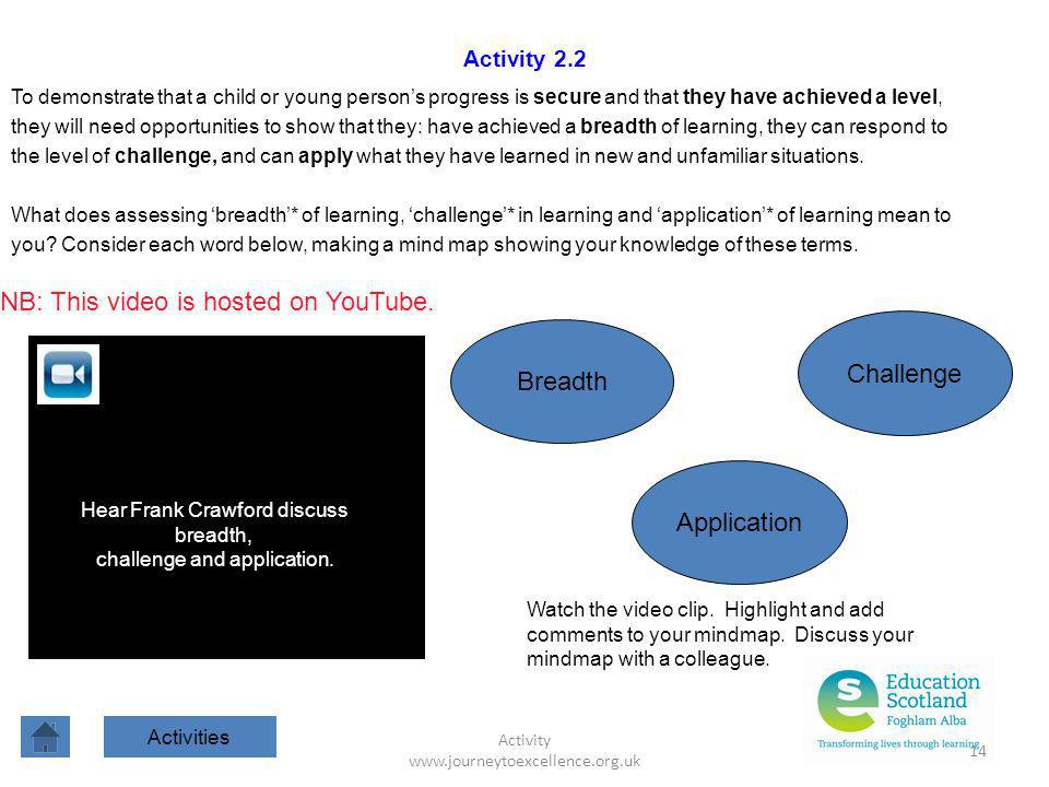 Activity www.journeytoexcellence.org.uk 14 Activity 2.2 To demonstrate that a child or young persons progress is secure and that they have achieved a