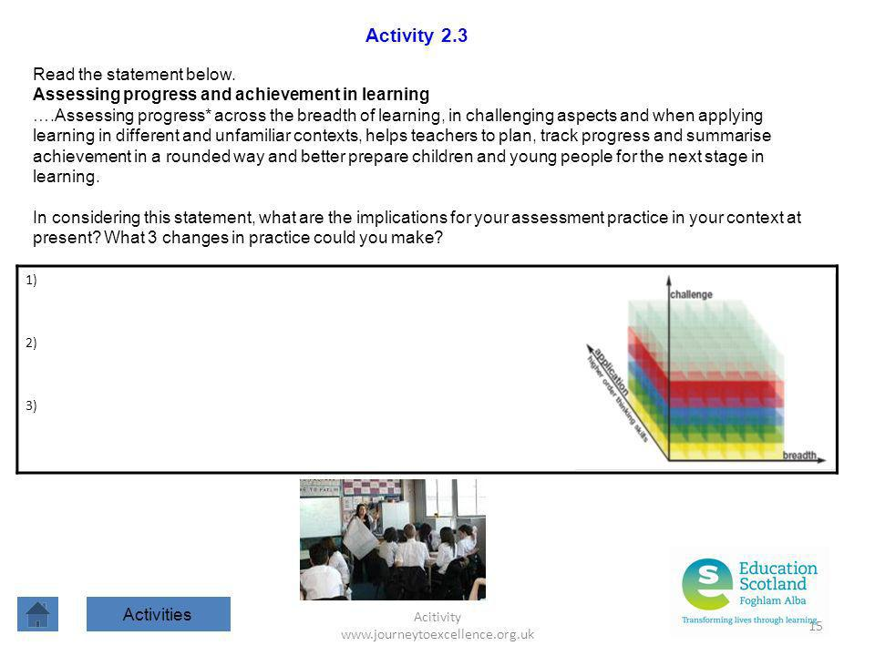 Acitivity www.journeytoexcellence.org.uk 15 Activity 2.3 Read the statement below. Assessing progress and achievement in learning ….Assessing progress