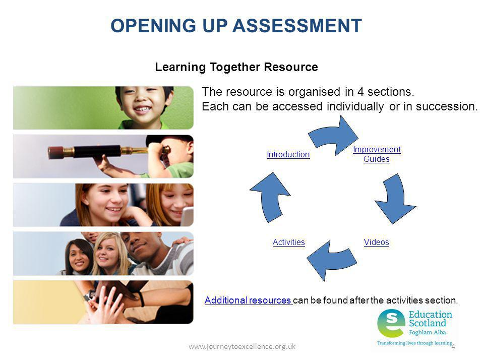 www.journeytoexcellence.org.uk4 Improvement Guides VideosActivities Introduction OPENING UP ASSESSMENT Learning Together Resource The resource is orga