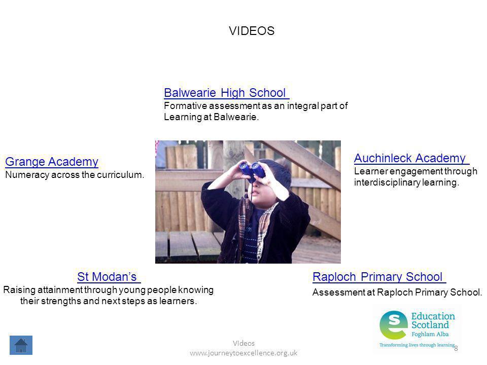 Videos www.journeytoexcellence.org.uk 8 VIDEOS Balwearie High School Formative assessment as an integral part of Learning at Balwearie. Raploch Primar