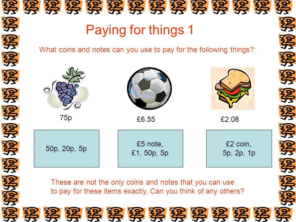 Paying for things 2 Write down the coins and notes that you could use to pay for the following things.