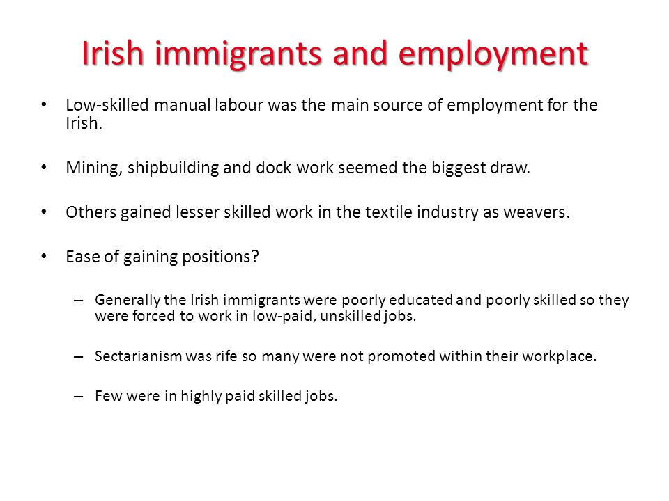 Irish immigrants and employment Low-skilled manual labour was the main source of employment for the Irish. Mining, shipbuilding and dock work seemed t
