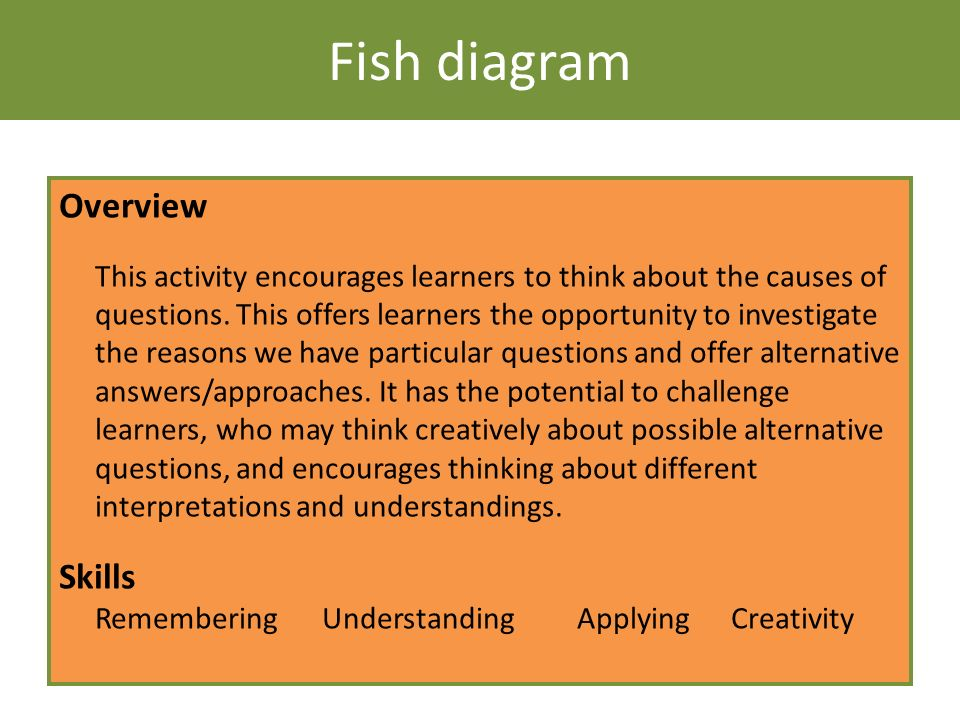 Fish diagram Overview This activity encourages learners to think about the causes of questions. This offers learners the opportunity to investigate th