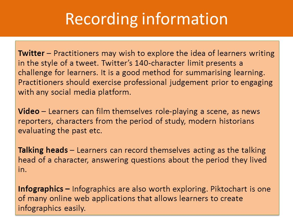 How it works 1.Learners are presented with an event, source or idea.