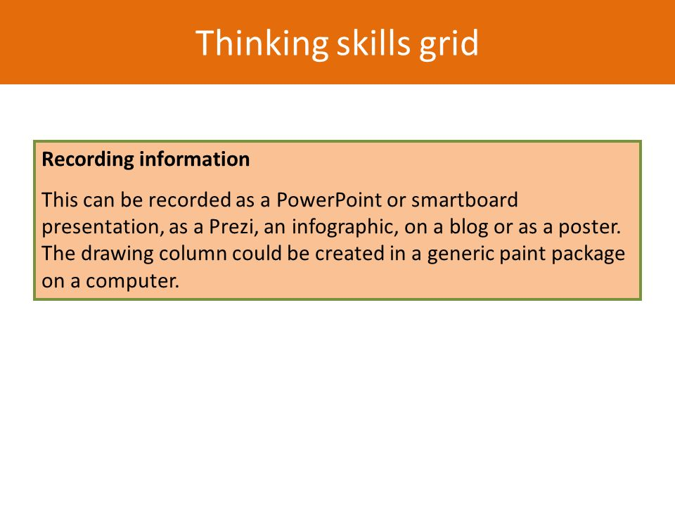 Thinking skills grid Recording information This can be recorded as a PowerPoint or smartboard presentation, as a Prezi, an infographic, on a blog or a