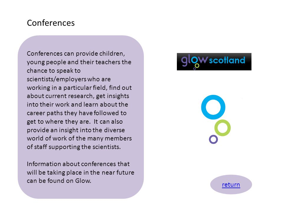 Conferences return Conferences can provide children, young people and their teachers the chance to speak to scientists/employers who are working in a