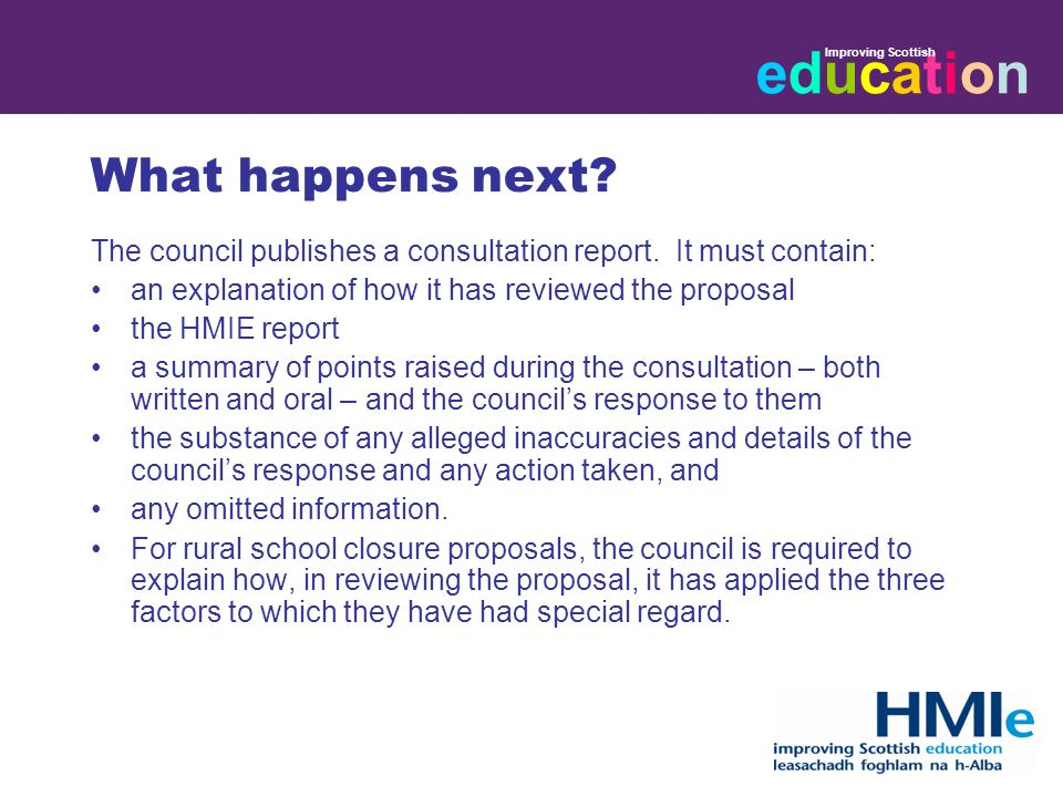 educationeducation Improving Scottish What happens next.