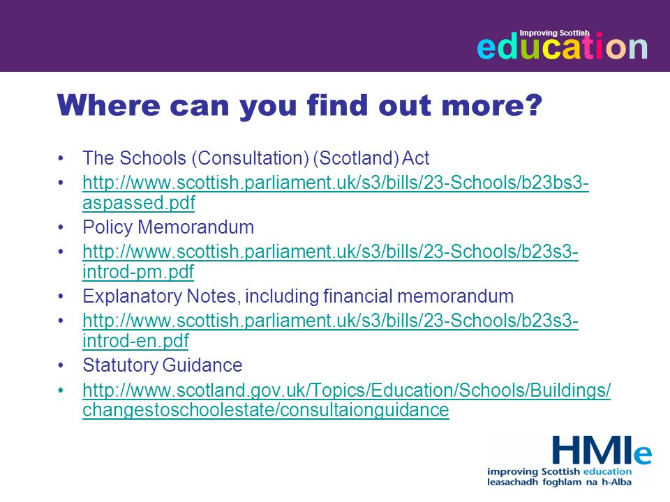 educationeducation Improving Scottish Where can you find out more.