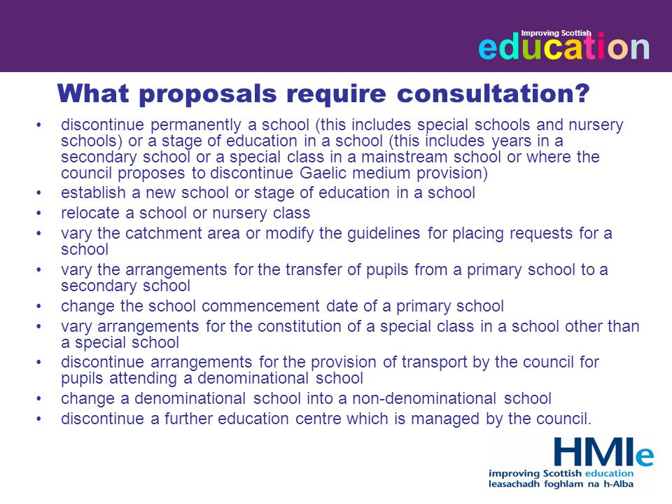 educationeducation Improving Scottish What proposals require consultation.