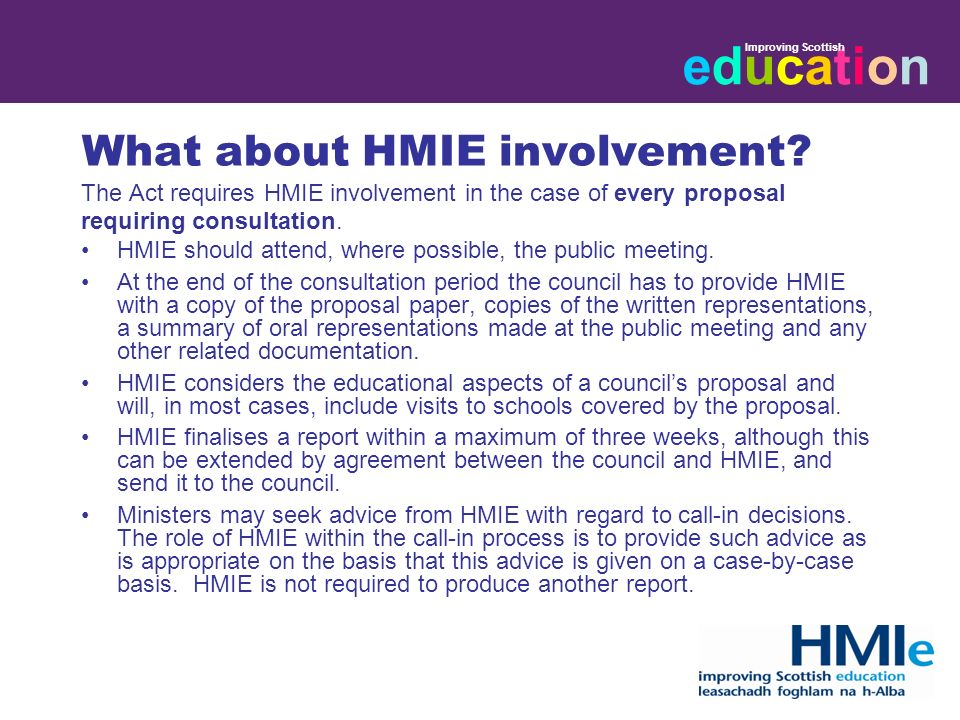 educationeducation Improving Scottish What about HMIE involvement.