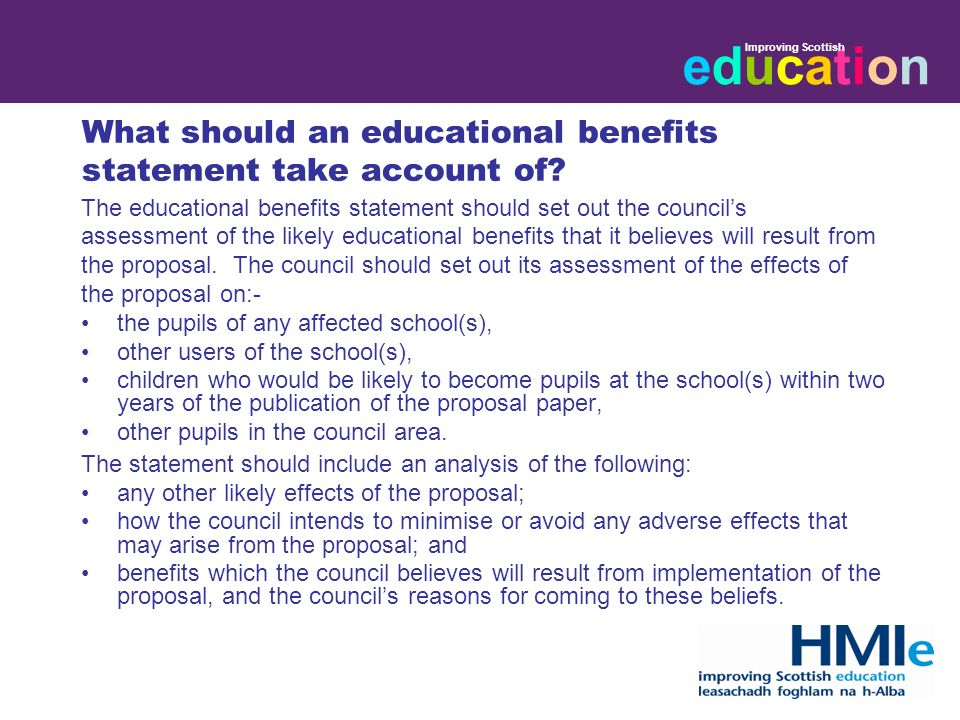 educationeducation Improving Scottish What should an educational benefits statement consider.