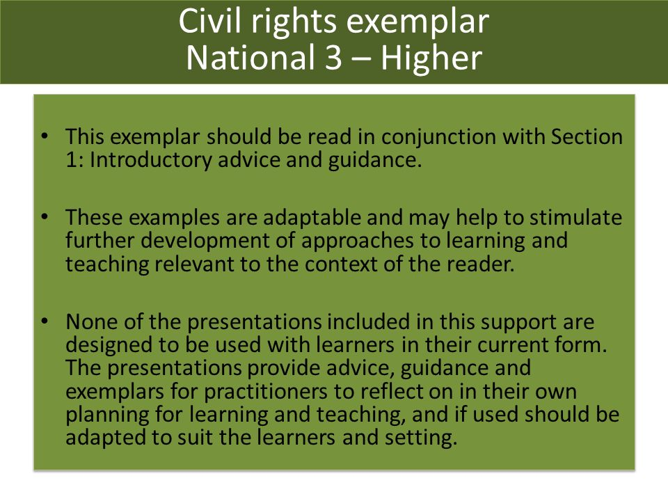 This exemplar should be read in conjunction with Section 1: Introductory advice and guidance.