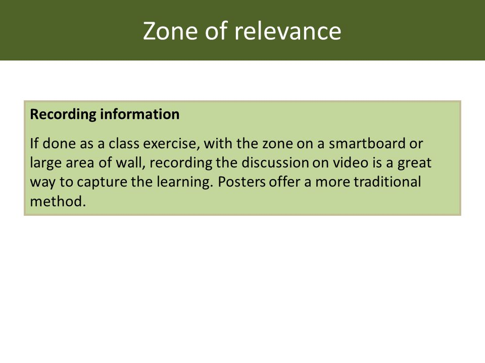 Zone of relevance Recording information If done as a class exercise, with the zone on a smartboard or large area of wall, recording the discussion on