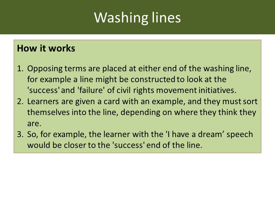 Washing lines How it works 1.