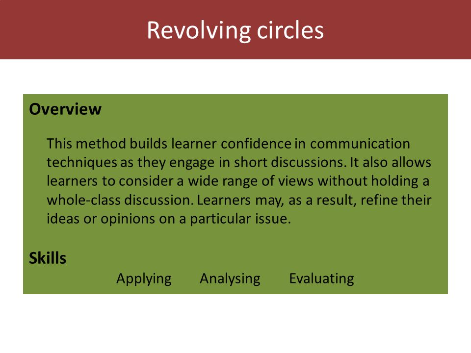 Revolving circles Overview This method builds learner confidence in communication techniques as they engage in short discussions.