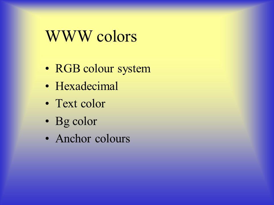 WWW colors RGB colour system Hexadecimal Text color Bg color Anchor colours