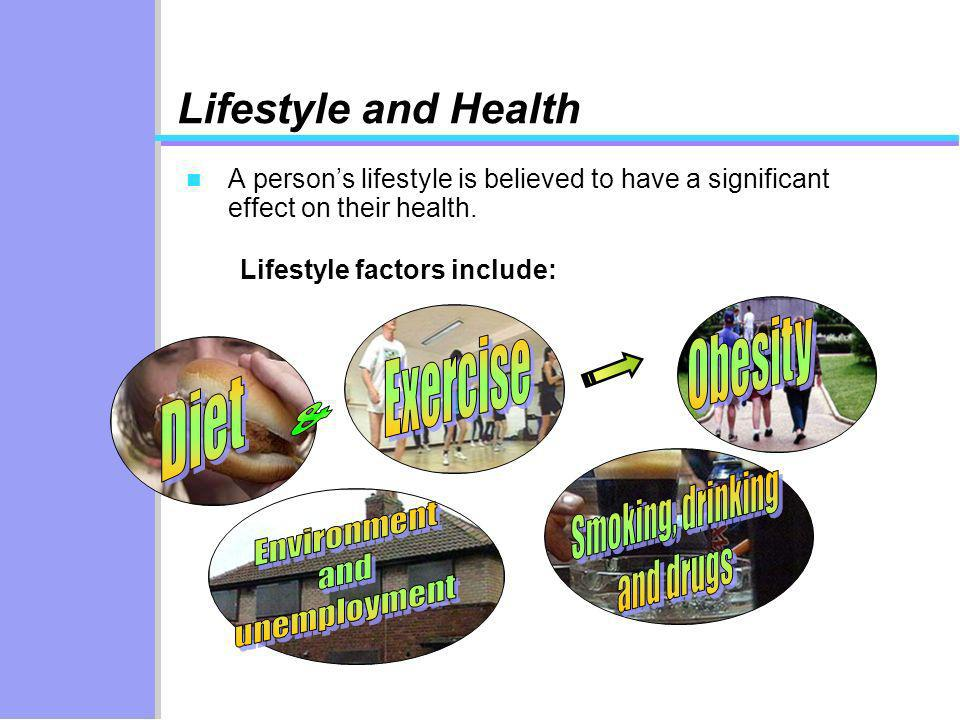 Lifestyle factors include: Lifestyle and Health n A persons lifestyle is believed to have a significant effect on their health.