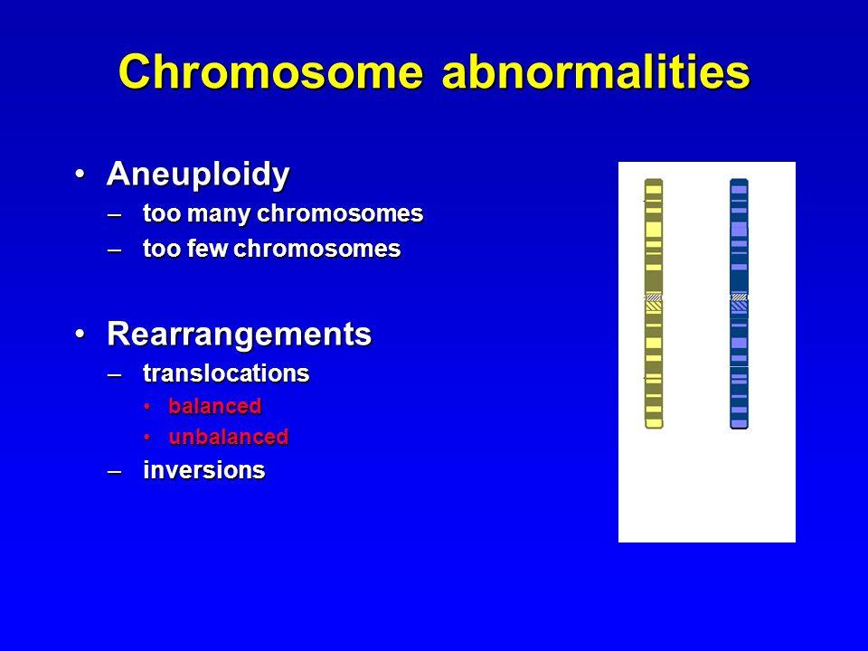 Chromosome abnormalities AneuploidyAneuploidy –too many chromosomes –too few chromosomes RearrangementsRearrangements –translocations balancedbalanced