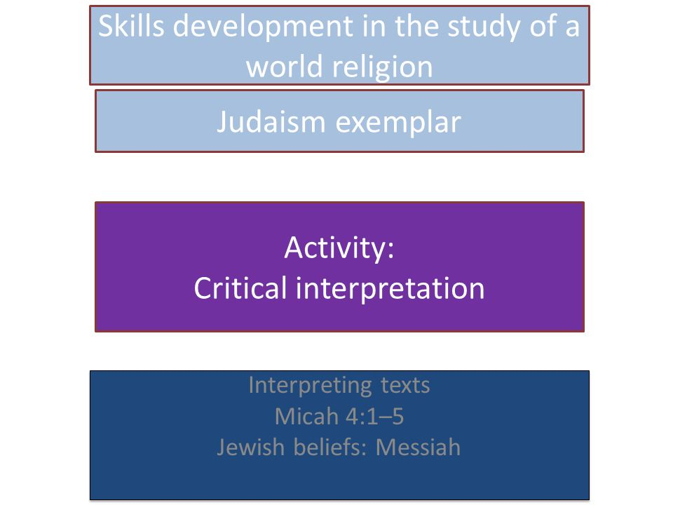 Skills development in the study of a world religion Interpreting texts Micah 4:1–5 Jewish beliefs: Messiah Interpreting texts Micah 4:1–5 Jewish beliefs: Messiah Judaism exemplar Activity: Critical interpretation
