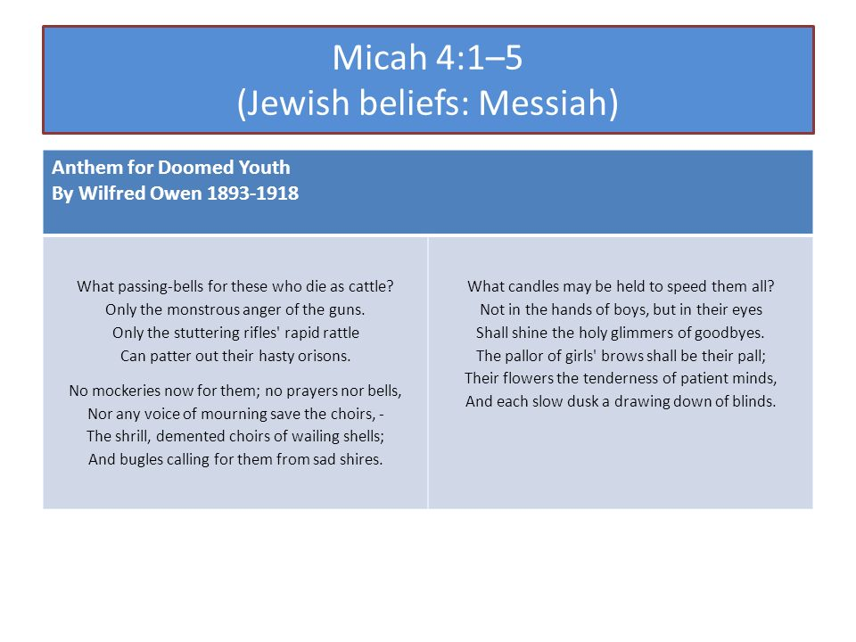 Micah 4:1–5 (Jewish beliefs: Messiah) Anthem for Doomed Youth By Wilfred Owen 1893-1918 What passing-bells for these who die as cattle.