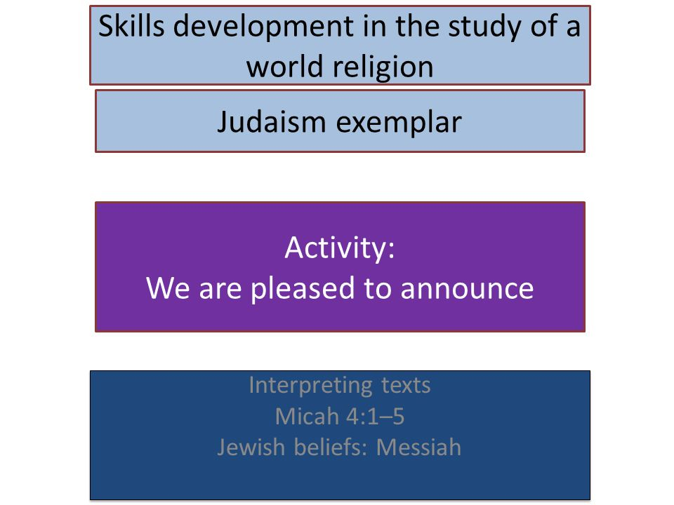 Skills development in the study of a world religion Interpreting texts Micah 4:1–5 Jewish beliefs: Messiah Interpreting texts Micah 4:1–5 Jewish beliefs: Messiah Judaism exemplar Activity: We are pleased to announce