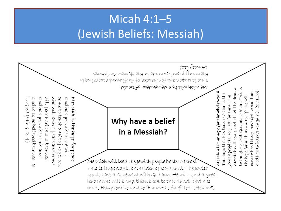 Micah 4:1–5 (Jewish Beliefs: Messiah) Why have a belief in a Messiah.