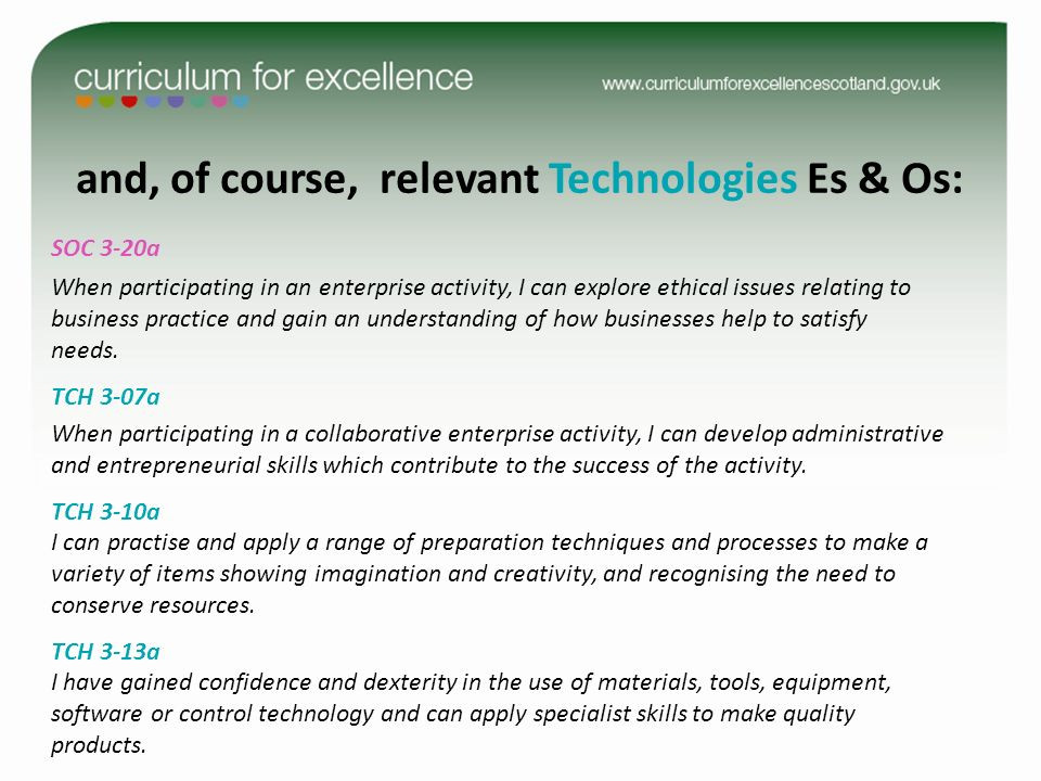 and, of course, relevant Technologies Es & Os: SOC 3-20a When participating in an enterprise activity, I can explore ethical issues relating to business practice and gain an understanding of how businesses help to satisfy needs.