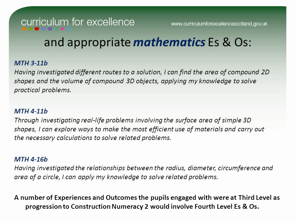 and appropriate mathematics Es & Os: MTH 3-11b Having investigated different routes to a solution, I can find the area of compound 2D shapes and the volume of compound 3D objects, applying my knowledge to solve practical problems.
