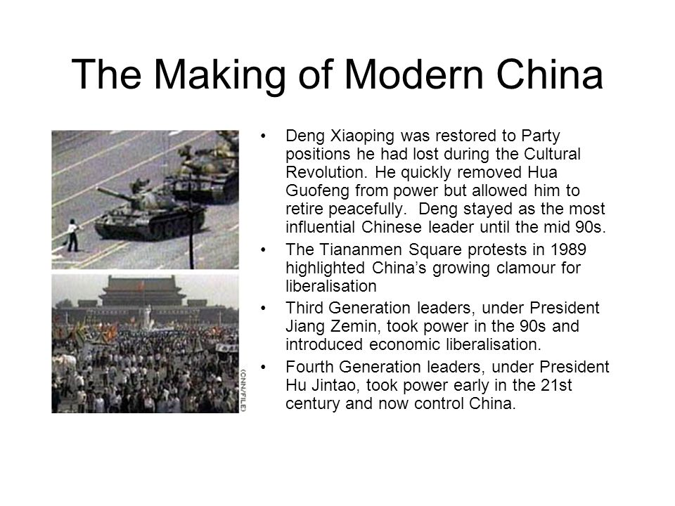 The Making of Modern China Deng Xiaoping was restored to Party positions he had lost during the Cultural Revolution.