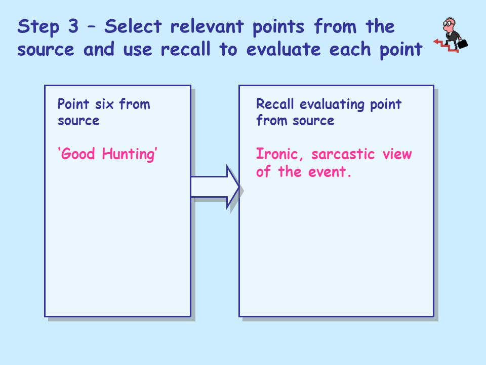 Step 3 – Select relevant points from the source and use recall to evaluate each point Point six from source Good Hunting Recall evaluating point from
